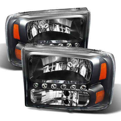 ( xTune ) Ford F250 F350 Super Duty 99-04 / Ford Excursion 00-04 1PC Headlights with LED - Black