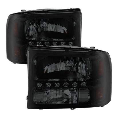 ( xTune ) Ford F250 F350 Super Duty 99-04 / Ford Excursion 00-04 1PC Headlights with LED - Black Smoked