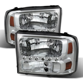 ( xTune ) Ford F250 F350 Super Duty 99-04 / Ford Excursion 00-04 1PC Headlights with LED - Chrome