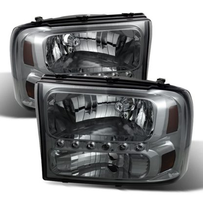 ( xTune ) Ford F250 F350 Super Duty 99-04 / Ford Excursion 00-04 1PC Headlights with LED - Smoked