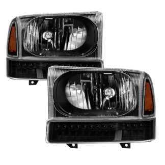 ( xTune ) Ford F250 F350 F450 Superduty Excursion 99-04 OEM Style Headlights With Full LED Bumper Lights - Black