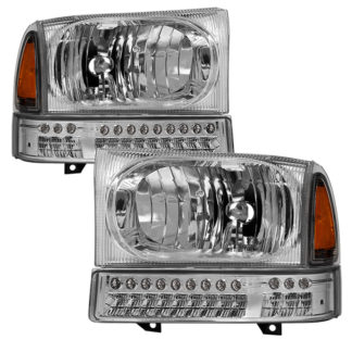 ( xTune ) Ford F250 F350 F450 Superduty Excursion 99-04 OEM Style Headlights With Full LED Bumper Lights - Chrome
