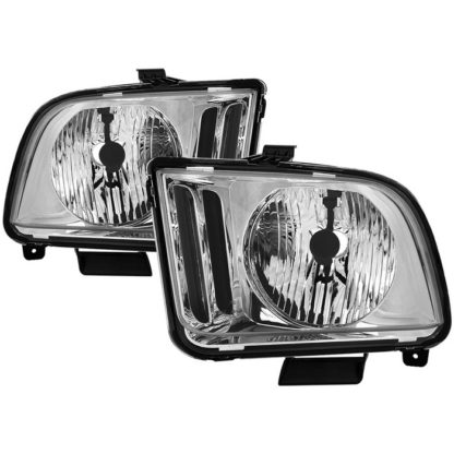 ( OE ) Ford Mustang 05-09 Halogen (Don't Fit Models With Factory HID Xenon & Shelby GT500/GT500KR Models ) OEM Style Headlights - Chrome