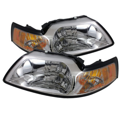 ( OE ) Ford Mustang 99-04 Amber Crystal Headlights - Chrome