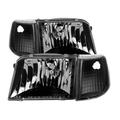 ( xTune ) Ford Ranger 93-97 Crystal Headlights With Corner Lights 4pcs sets - Black
