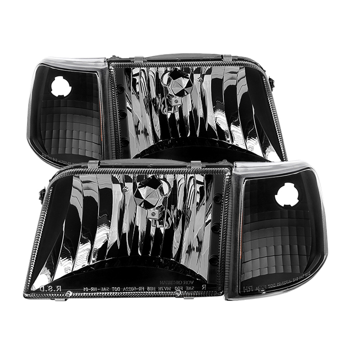 ( xTune ) Ford Ranger 93-97 Crystal Headlights With Corner Lights 4pcs sets - Black