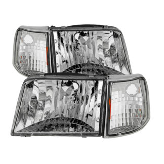 ( OE ) Ford Ranger 93-97 Crystal Headlights With Corner Lights 4pcs sets - Chrome
