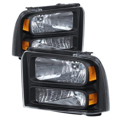 ( xTune ) Ford F250/350/450 Super Duty 05-07 Crystal Headlights - Black