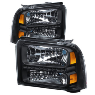 ( xTune ) Ford F250/350/450 Super Duty 05-07 Crystal Headlights with LED - Black