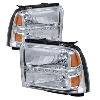 ( xTune ) Ford F250/350/450 Super Duty 05-07 Crystal Headlights with LED - Chrome