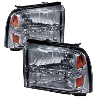( xTune ) Ford F250/350/450 Super Duty 05-07 Crystal Headlights with LED - Smoke
