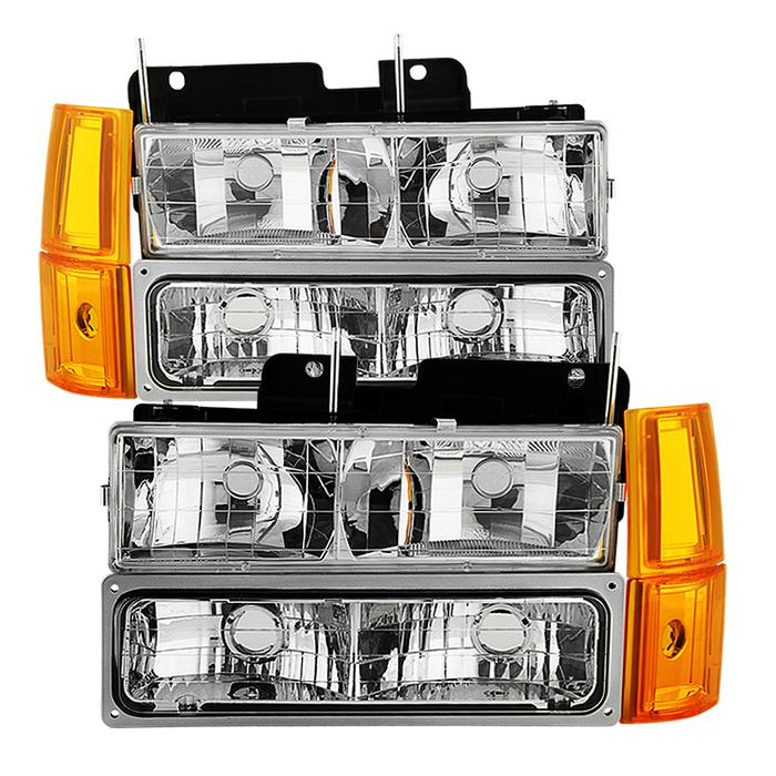 ( OE ) GMC C/K Series 1500/2500/3500 94-98 / GMC Sierra 94-98 / GMC Suburban 1500/2500 94-99 / Chevy Suburban 94-98 / GMC Yukon 94-99 ( Not Compatible With Seal Beam Headlight ) Headlights W/ Corner & Parking Lights 8pcs sets -Chrome
