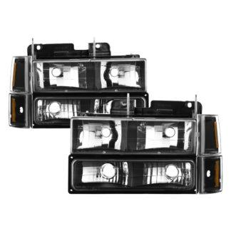 ( xTune ) GMC C/K Series 1500/2500/3500 94-98 / GMC Sierra 94-98 / GMC Suburban 1500/2500 94-99 / Chevy Suburban 94-98 / GMC Yukon 94-99 ( Not Compatible With Seal Beam Headlight ) Headlights W/ Corner & Parking Lights 8pcs sets -Black