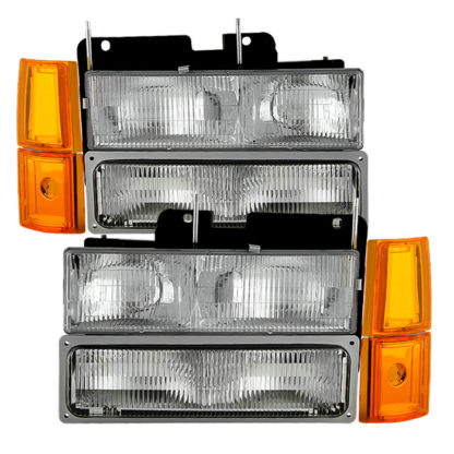 ( OE ) GMC C/K Series 1500/2500/3500 94-98 / GMC Sierra 94-98 / GMC Suburban 1500/2500 94-99 / Chevy Suburban 94-98 / GMC Yukon 94-99 ( Not Compatible With Seal Beam Headlight ) Headlights W/ Corner & Parking Lights 8pcs sets -OEM