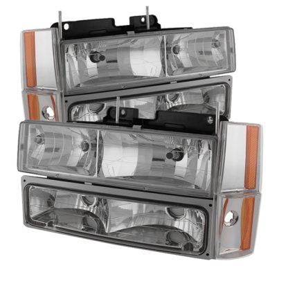 ( OE ) Chevy/GMC C/K Series 1500/2500/3500 88-93 / Chevy Blazer 92-93 / Chevy Silverado 88-93/ Chevy/GMC Suburban 88-93 / GMC Sierra 88-93 / GMC Yukon 92-93 (don?t fit model w/sealed beam headlights) Crystal Headlights W/ Corner & Bumper - Chrome