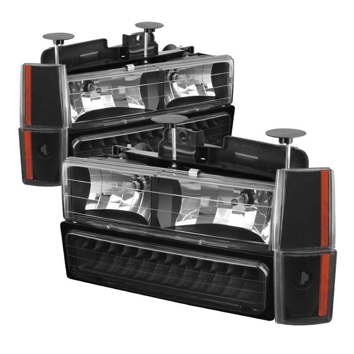 ( xTune ) Chevy/GMC C/K Series 1500/2500/3500 88-93 / Chevy Blazer 92-93 / Chevy Silverado 88-93/ Chevy/GMC Suburban 88-93 / GMC Sierra 88-93 / GMC Yukon 92-93  (don't fit model w/sealed beam headlights) Crystal Headlights W/ Corner & LED Bumper - Black