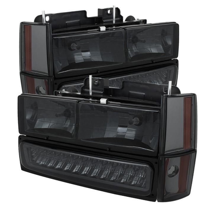 ( xTune ) Chevy/GMC C/K Series 1500/2500/3500 88-93 / Chevy Blazer 92-93 / Chevy Silverado 88-93/ Chevy/GMC Suburban 88-93 / GMC Sierra 88-93 / GMC Yukon 92-93  (don't fit model w/sealed beam headlights) Crystal Headlights W/ Corner & LED Bumper - Smoke