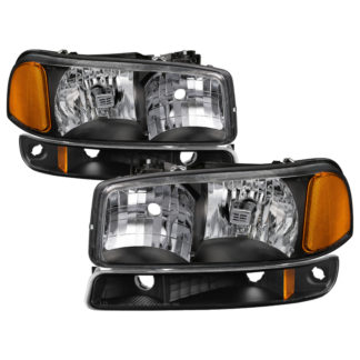 ( xTune ) GMC Sierra 99-06 /Yukon 00-06 ( Don't fit Denali and C3 Model ) Crystal Headlights &  Bumper Lights – Black