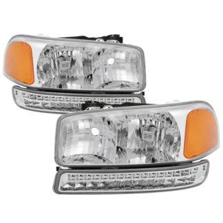 ( xTune ) GMC Sierra 99-06 /Yukon 00-06 ( Don't fit Denali and C3 Model ) Headlights & LED Bumper Lights - Chrome