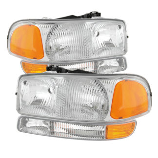 ( OE ) GMC Sierra 99-06 /Yukon 00-06 ( Don't fit Denali and C3 Model ) Headlights & Amber Bumper Lights - Chrome