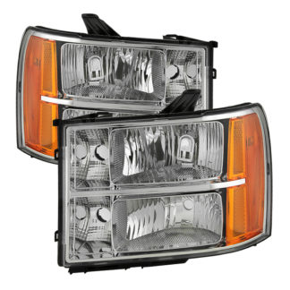 ( OE ) GMC Sierra 07-13 Crystal Headlights - Chrome