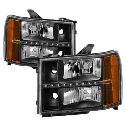 ( xTune ) GMC Sierra 07-13 Headlights with Daytime LED Running Light - Black