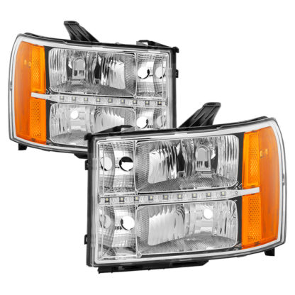 ( xTune ) GMC Sierra 07-13 Headlights with Daytime LED Running Light - Chrome