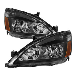 ( xTune ) Honda Accord 03-07 Amber Crystal Headlights – Black
