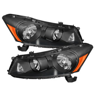 ( xTune ) Honda Accord 08-12 4Dr Amber Crystal Headlights – Black