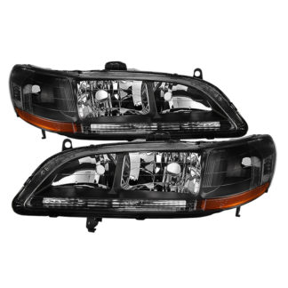 ( xTune ) Honda Accord 98-02 Amber Crystal Headlights - Black