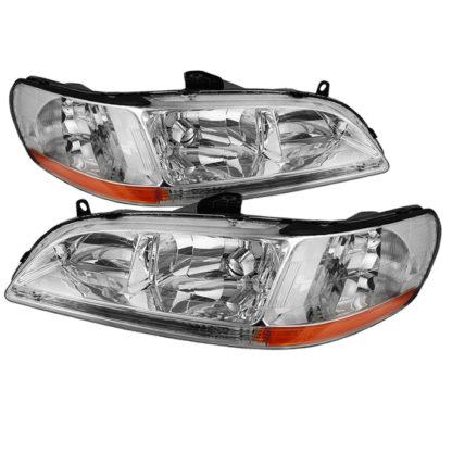 ( OE ) Honda Accord 98-02 Amber Crystal Headlights - Chrome