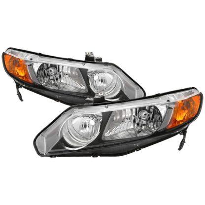 ( xTune ) Honda Civic 06-11 4dr Crystal Headlights Amber Corner - Black