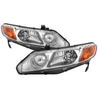 ( OE ) Honda Civic 06-11 4dr Crystal Headlights Amber Corner – Chrome