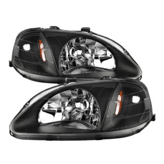 ( xTune ) Honda Civic 99-00 Amber Crystal Headlights – Black