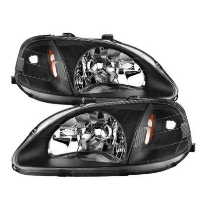 ( xTune ) Honda Civic 99-00 Amber Crystal Headlights - Black