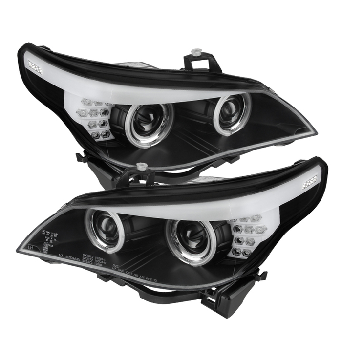 BMW E60 5-Series 04-07 Projector Headlights - Halogen Model Only ( Not  Compatible With Xenon/HID Model ) - CCFL Halo - Black