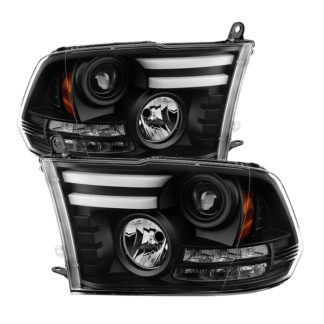 Dodge Ram 1500 09-18 / Ram 2500/3500 10-19 Projector Headlights - Halogen Model Only ( Not Compatible With Factory Projector And LED DRL ) - Light Bar DRL - Black - High 9005 (Not Included)- Low H1 (Included)