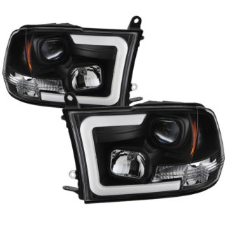 Dodge Ram 1500 09-18 / Ram 2500/3500 10-19 Version 2 Projector Headlights - Halogen Model Only ( Not Compatible With Factory Projector And LED DRL ) - Light Bar DRL - Low Beam-H7(Included) ; High Beam-H1(Included) ; Signal-3157A(Not Included) - Black