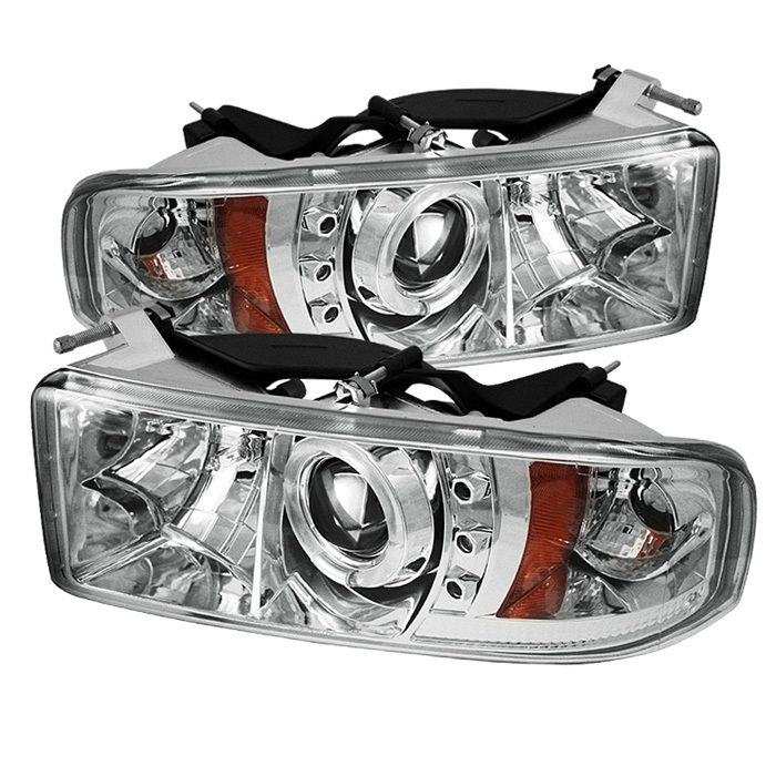 Dodge Ram 1500 94-01 / Ram 2500/3500 94-02 / 99-01 Ram Sport - Projector  Headlights - LED Halo - LED ( Replaceable LEDs ) - Chrome - High 9005