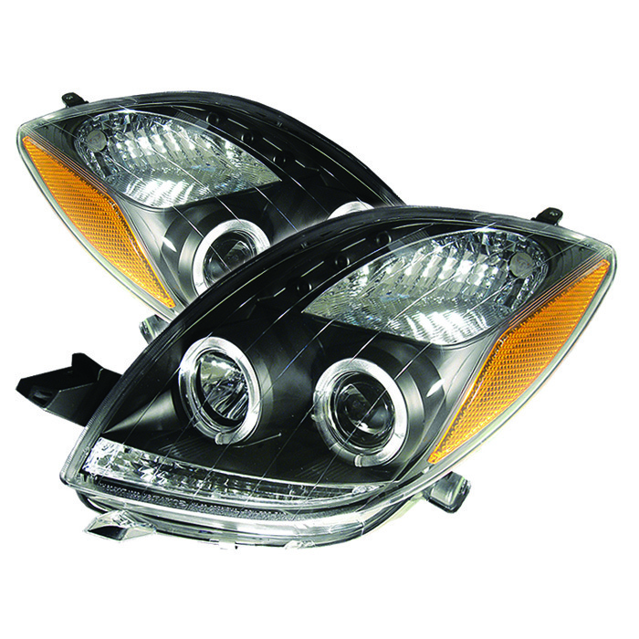 Toyota Yaris 06-08 2DR Projector Headlights - LED Halo- LED ( Replaceable  LEDs ) - Black - High H1 (Included) - Low H1 (Included)