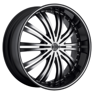 2Crave No. 01 Glossy Black / Machined Face / Machine Stripe Custom Wheel