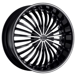 2Crave No. 19 Glossy Black / Machined Face / Machine Stripe Custom Wheel