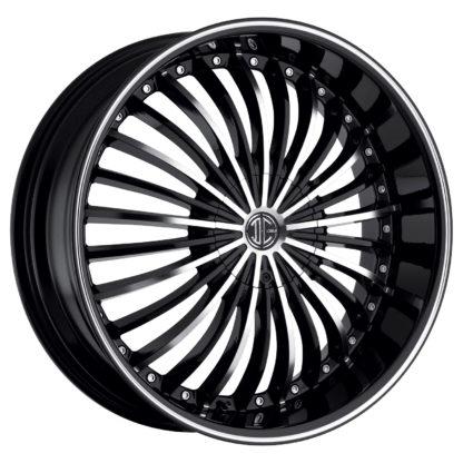 2Crave No. 19 Glossy Black / Machined Face / Machine Stripe Custom Wheel