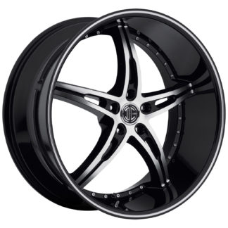 2Crave No. 14 Glossy Black / Machined Face / Machine Stripe Custom Wheel