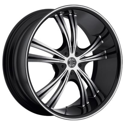 2Crave No. 02 Glossy Black / Machined Face / Machine Stripe Custom Wheel