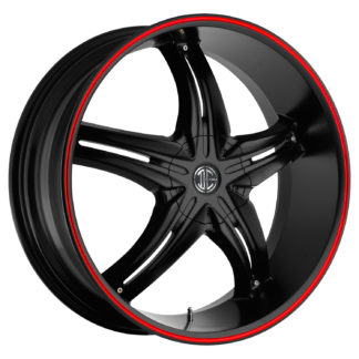 2Crave No. 05 Satin Black Red Stripe Custom Wheel