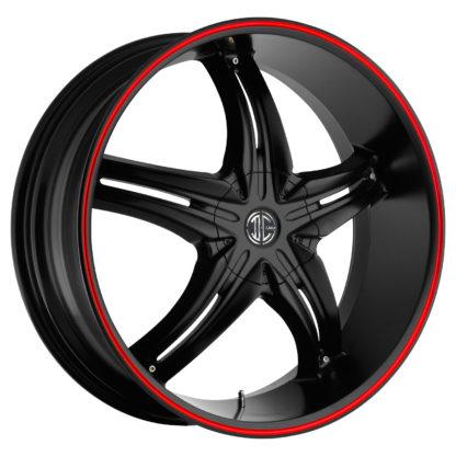 2Crave No. 05 Satin Black Red Stripe Custom Wheel