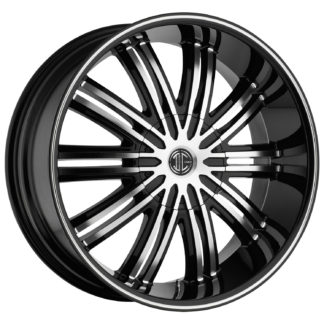 2Crave No. 07 Glossy Black / Machined Face / Machine Stripe Custom Wheel