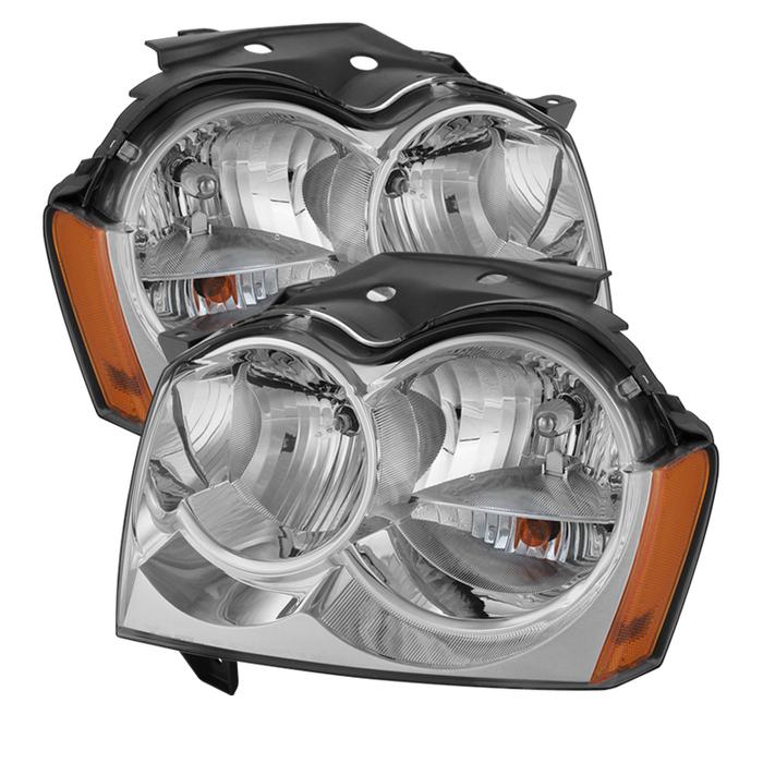 ( OE ) Jeep Grand Cherokee 05-07Crystal Headlights - Chrome