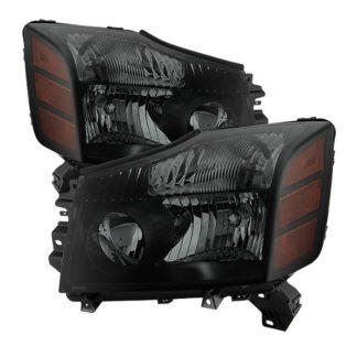 ( xTune ) Nissan Titan 04-15 (04-07 OE Style ) / Armada 04-07 OEM Amber Head Lights set – Black Smoked